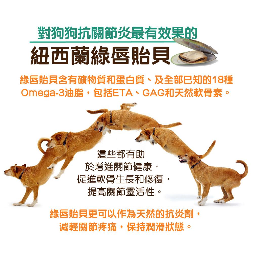 Pet Pet Premier, Joint Prime, Health Prime, 狗狗神仙粉, 关节神仙粉, 狗保健品 | 对狗狗抗关节炎最有效果的 新西兰绿唇贻贝 绿唇贻贝含有矿物质和蛋白质、及全部已知的18种Omega-3油脂,包括ETA、GAG和天然软骨素。 这些都有助于增进关节健康,促进软骨生长和修复,提高关节灵活性。 绿唇贻贝更可以作为天然的抗炎剂,减轻关节疼痛,保持润滑状态。